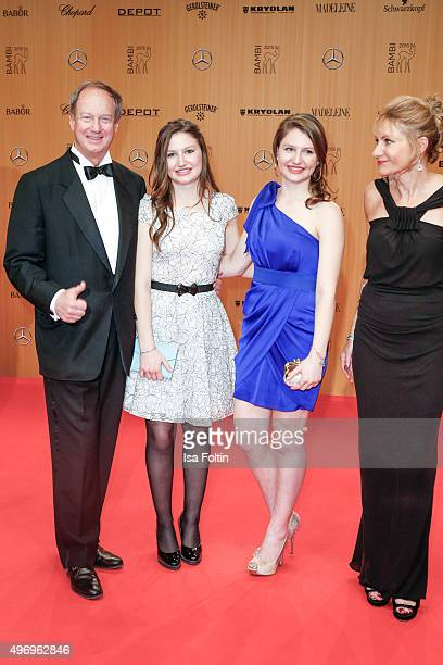 John B Emerson with his daughter and his wife Kimberly MarteauEmerson attend the Kryolan At Bambi Awards 2015 Red Carpet Arrivals on November 12 2015...