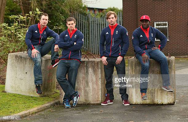 John Baines Craig Pickering Ben Simons and Lamin Deen of the GBR2 Great Britain Bobsleigh team pose for a group picture during the kitting out day at...