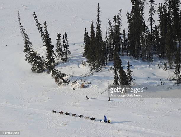 John Baker is the third musher out of the checkpoint of Nikolai Alaska as he mushes along the trail on Tuesday March 9 during the 2010 Iditarod Sled...