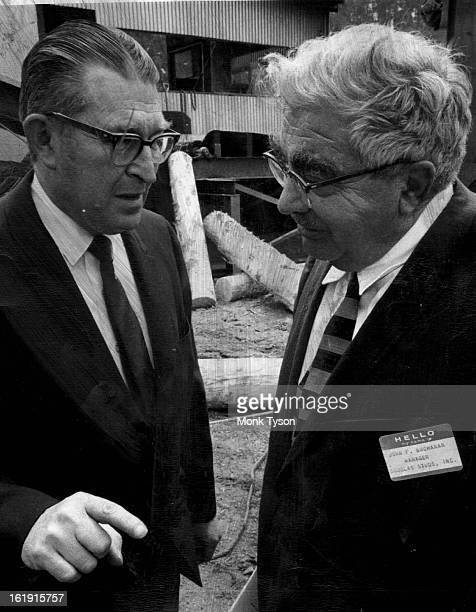 MAY 10 1968 MAY 11 1968 MAY 12 1968 MAR 17 1969 John Baker left assistant secretary of agriculture is taken on a tour of inspection of sawmill by...