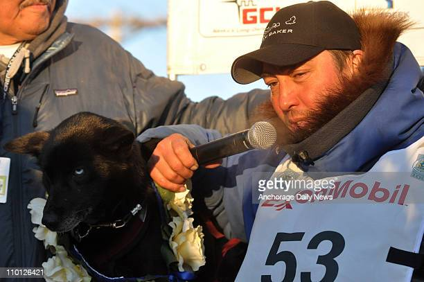John Baker talks about his win in the Iditarod Trail Sled Dog Race Tuesday morning on March 15 in Nome Alaska