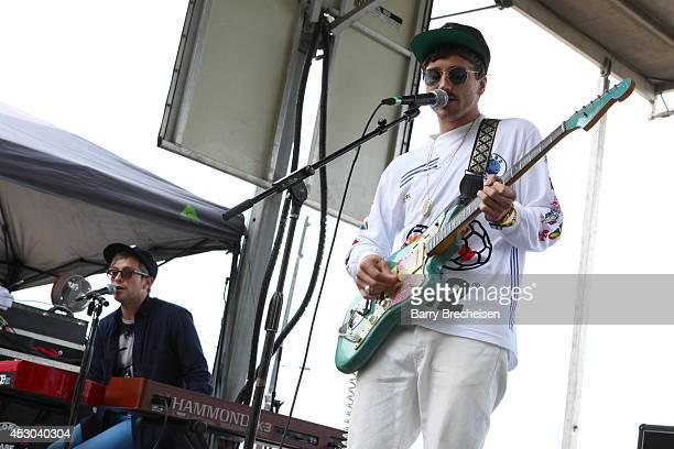 John Baldwin Gourley and Kyle O'Quin of Portugal. The Man performs at the Kidzapalooza stage during 2014 Lollapalooza Day One at Grant Park on August...