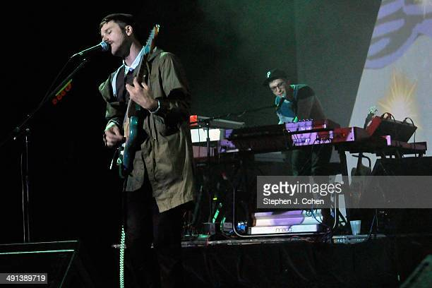 John Baldwin Gourley and Kyle O'Quin of Portugal. The Man performs at The Brown Theatre on May 15, 2014 in Louisville, Kentucky.