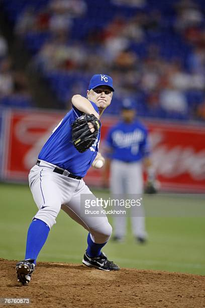 John Bale of the Kansas City Royals pitches in a game against the Minnesota Twins at the Humphrey Metrodome in Minneapolis, Minnesota on August 31,...