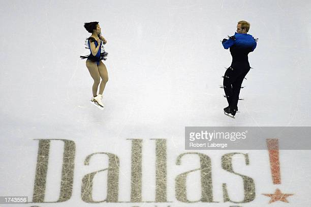 John Balwin and Rena Inoue warm-up before the pairs short program during the State Farm US Figure Skating Championships on January 15, 2003 at the...