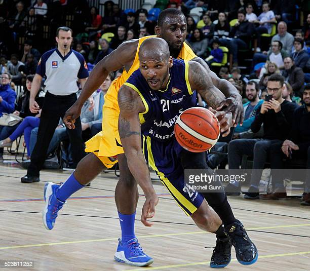 John Barber of Sheffield in action during the British Basketball League match between London Lions and Sheffield Sharks at The Copper Box Arena on...