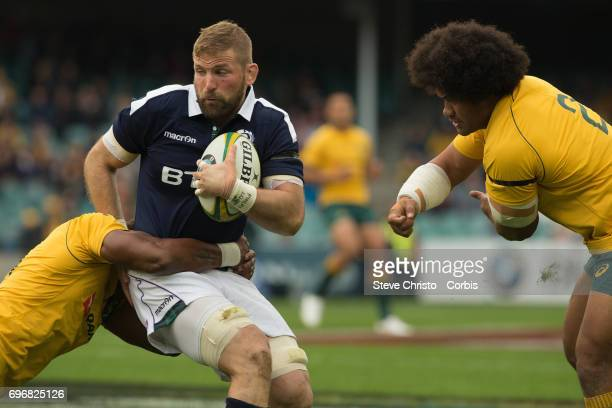 John Barclay captain of Scotland in action during the International Test match between the Australian Wallabies and Scotland at Allianz Stadium on...