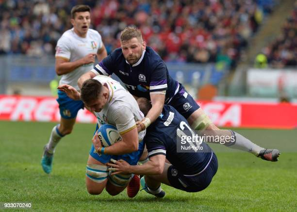 John Barclay Nick Grigg Jake Polledri during the RBS Six Nations match between Italy and Scotland at the Stadio Olimpico on march 18 2018 in Rome...