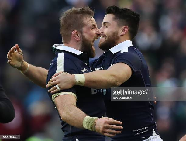 John Barclay of Scotland celebrates with Sean Maitland of Scotland at full time during the RBS 6 Nations match between Scotland and Ireland at...