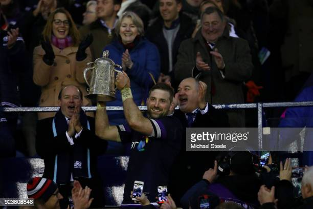 John Barclay of Scotland holds aloft the Calcutta Cup after victory in the NatWest Six Nations match between Scotland and England at Murrayfield on...
