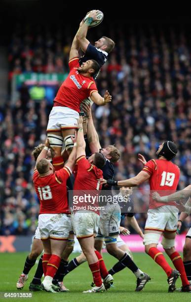 John Barclay of Scotland outjumps Taulupe Faletau in the lineout during the RBS Six Nations match between Scotland and Wales at Murrayfield Stadium...