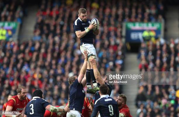John Barclay of Scotland wins lineout ball during the RBS Six Nations match between Scotland and Wales at Murrayfield Stadium on February 25 2017 in...
