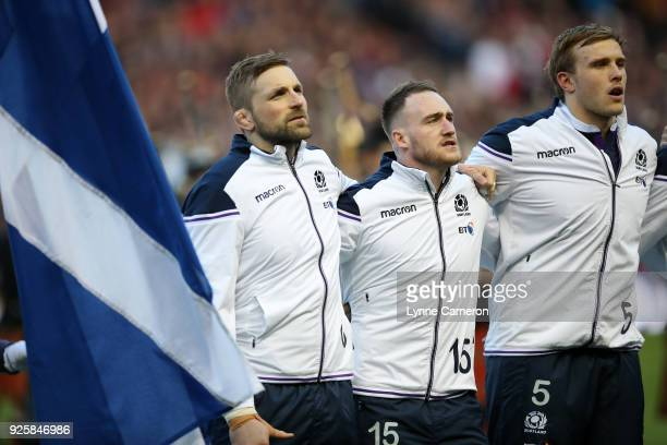 John Barclay Stuart Hogg and Jonny Gray of Scotland before the NatWest Six Nations Championship between Scotland and England at Murrayfield on...