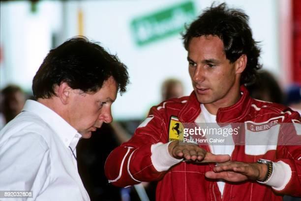John Barnard Gerhard Berger Grand Prix of Germany Hockenheimring 24 July 1988 Ferrari technical director and designer John Barnard with Gerhard Berger