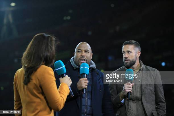 John Barnes and Matthew Upson working as television pundits for ITV Sport during the International Friendly between Brazil and Uruguay at Emirates...