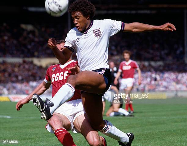 John Barnes of England during the England v Russia International Friendly match held at Wembley Stadium London on the 2nd June 1984 Russia won 20