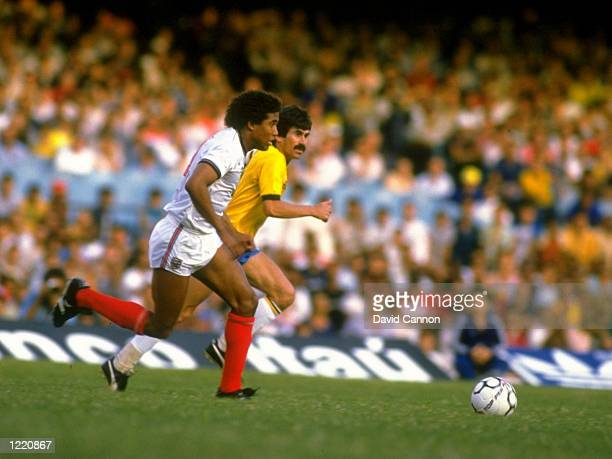 John Barnes of England starts a run on the goal during the international match against Brazil played at the Maracana Stadium in Rio de Janeiro Brazil...