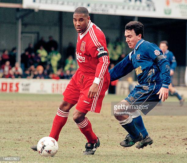 John Barnes of Liverpool in action during their FA Cup 4th round match against Shrewsbury Town at Gay Meadow in Shrewsbury 27th January 1996...