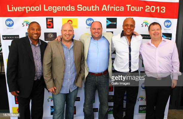 John Barnes Pete de Wet Ian Riddick Doctor Khumalo Jared Ayres during the Launch of the Liverpool FC Legend Tour press conference announcement from...
