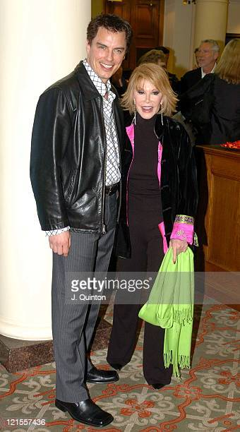John Barrowman and Joan Rivers during The Lighthouse Gala Auction Arrivals at Christie's in London Great Britain