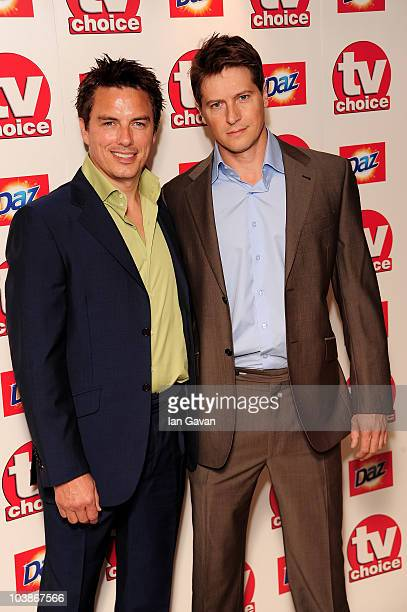 John Barrowman and Scott Gill arrive at the TV Choice Awards 2010 at The Dorchester on September 6 2010 in London England