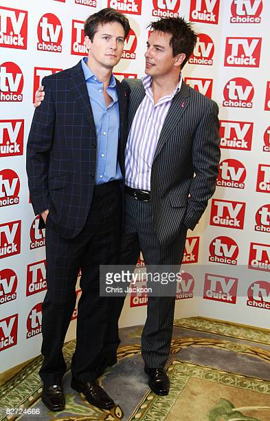 John Barrowman and Scott Gill arrive at the TV Quick and TV Choice Awards at the Dorchester on September 8 2008 in London England