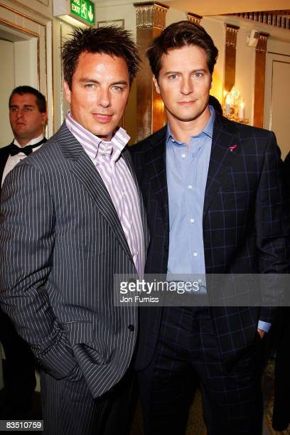 John Barrowman and Scott Gill arrive at the TV Quick TV Choice Awards Held at the Dorchester Hotel on September 8 2008 in London England