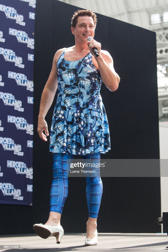John Barrowman takes questions from the audience, on day one of the Heroes and Villians Convention at Olympia London on May 27, 2017 in London, England.