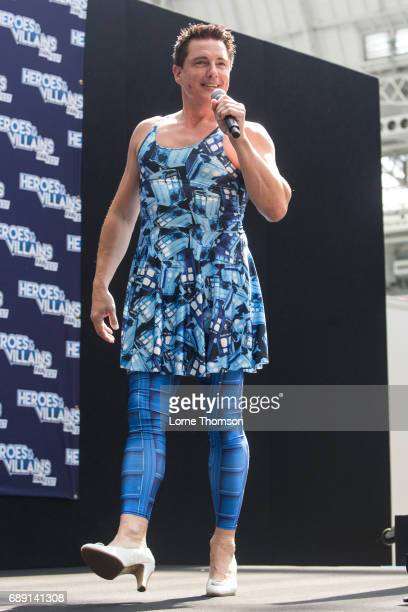 John Barrowman takes questions from the audience on day one of the Heroes and Villians Convention at Olympia London on May 27 2017 in London England