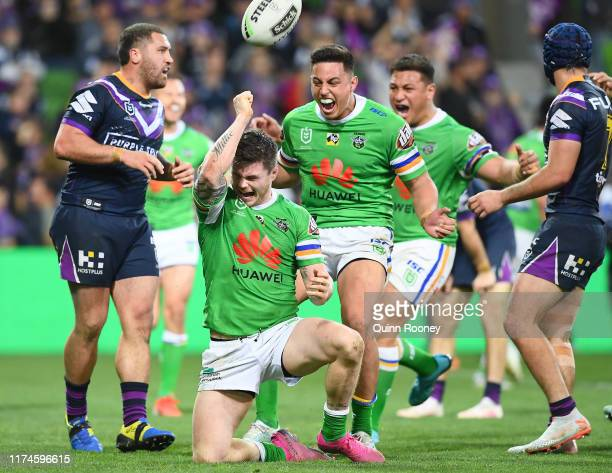 John Bateman of the Raiders scores a try during the NRL Qualifying Final match between the Melbourne Storm and the Canberra Raiders at AAMI Park on...
