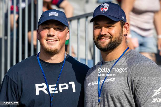 John Bates and Samuel Cosmi of the Washington Football Team pose for a photo before the second half of the match between Old Glory DC and NOLA Gold...