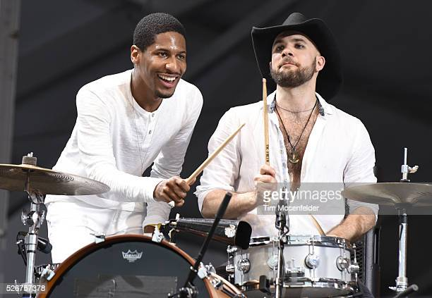 John Batiste and Joe Saylor of John Batiste Stay Human perform during the 2016 New Orleans Jazz Heritage Festival at Fair Grounds Race Course on...