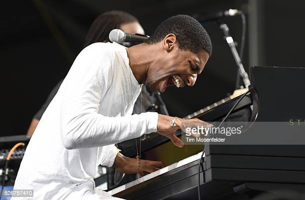 John Batiste of John Batiste Stay Human performs during the 2016 New Orleans Jazz Heritage Festival at Fair Grounds Race Course on April 30 2016 in...