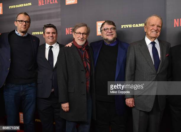 John Battsek guest Steven Spielberg Guillermo del Toro and George Stevens Jr attend the Five Came Back world premiere at Alice Tully Hall at Lincoln...