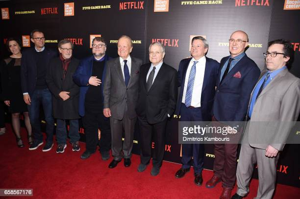John Battsek Steven Spielberg Guillermo del Toro George Stevens Jr Lawrence Kasdan Ted Sarandos Laurent Bouzereau and Mark Harris attend the Five...