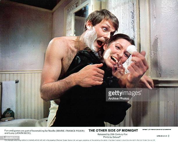 John Beck and MarieFrance Pisier having fun together in a scene from the film 'The Other Side Of Midnight' 1977