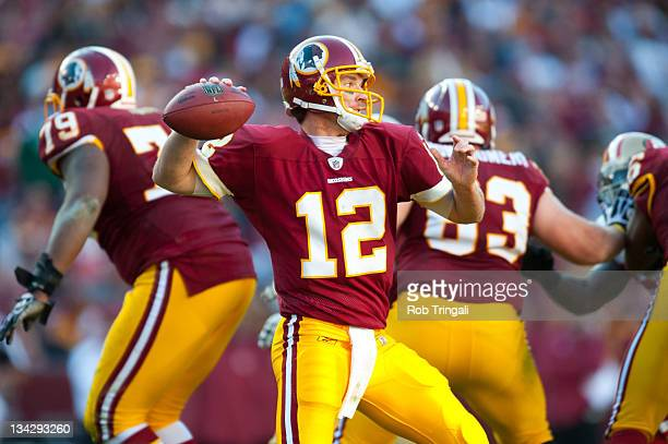 John Beck of the Washington Redskins drops back during the game against the San Francisco 49ers at FedExField on November 6 2011 in Landover Maryland...