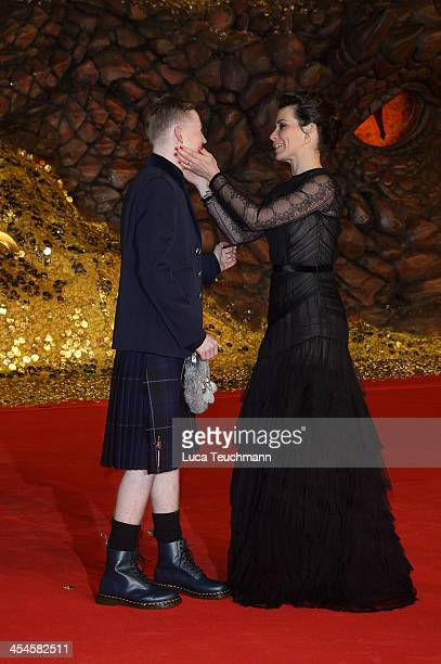 John Bell and Evangeline Lilly attend the German premiere of the film 'The Hobbit: The Desolation Of Smaug' at Sony Centre on December 9, 2013 in...