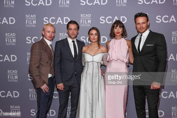 """John Bell, Richard Rankin, Sophie Skelton, Caitriona Balfe, and Sam Heughan attend the 21st SCAD Savannah Film Festival Red Carpet for """"Outlander""""..."""