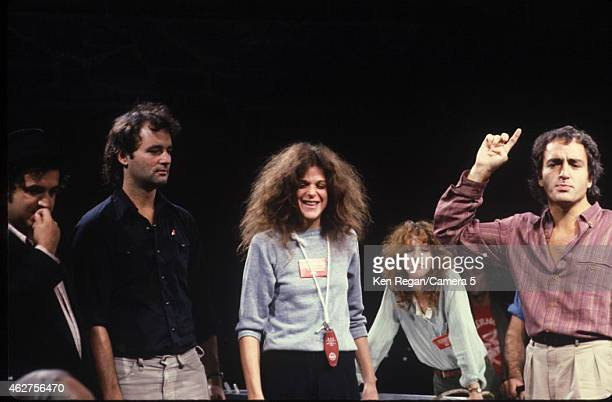 John Belushi Bill Murray Gilda Radner Laraine Newman and Lorne Michaels are photographed on the set of Saturday Night Live in 1978 in New York City...