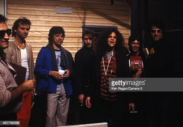 John Belushi Bill Murray Mick Jagger Charlie Watts Gilda Radner and Dan Ackroyd are photographed on the set of Saturday Night Live in October 1978 in...
