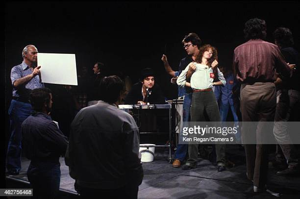 John Belushi Dan Ackroyd and Laraine Newman are photographed on the set of Saturday Night Live in 1978 in New York City CREDIT MUST READ Ken...