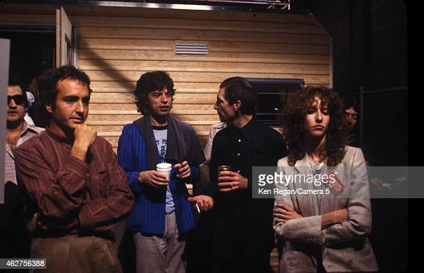 John Belushi Lorne Michaels Mick Jagger Charlie Watts and Laraine Newman are photographed on the set of Saturday Night Live in October 1978 in New...