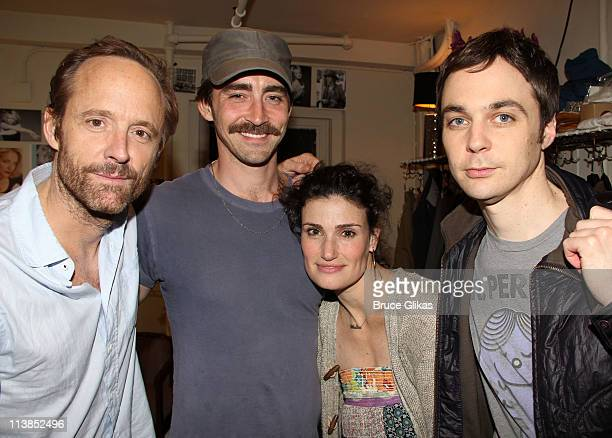 John Benjamin Hickey Lee Pace Idina Menzel and Jim Parsons pose backstage at the play 'The Normal Heart' on Broadway at The Golden Theater on May 8...
