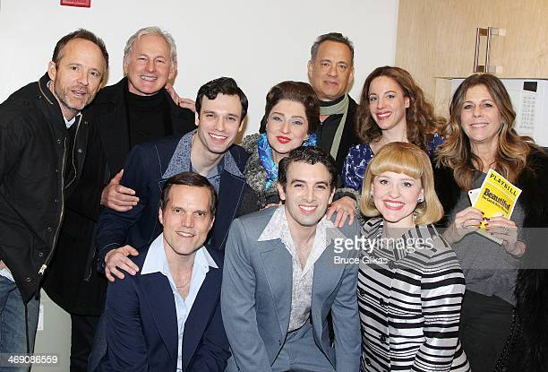 John Benjamin Hickey Victor Garber Tom Hanks and Rita Wilson pose with the cast backstage at the hit Carole King musical 'Beautiful' on Bropadway at...