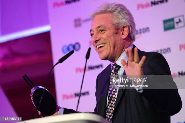 John Bercow accepting the Special Award at the PinkNews Awards 2019 at The Church House on October 16, 2019 in London, England.