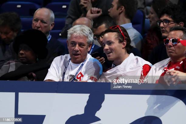 John Bercow, former Speaker of the House of Commons looks on from the crowd in the singles match between Roger Federer of Switzerland and Dominic...