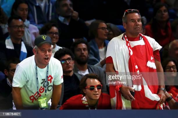 John Bercow, former Speaker of the House of Commons shows his support for Roger Federer of Switzerland in the singles match between Roger Federer of...