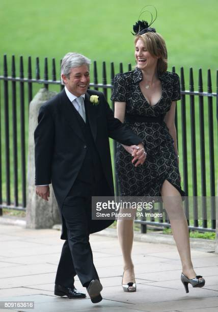 John Bercow Speaker of the House of Commons and his wife Sally arrive at Westminster Abbey for the wedding of Prince William and Kate Middleton at...