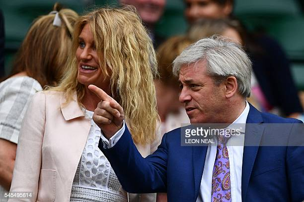 John Bercow speaker of the House of Commons and wife Sally arrive in the royal box in centre court before the men's semifinal match between...